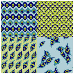 Set of Seamless Backgrounds - Peacock Collection - for wedding,