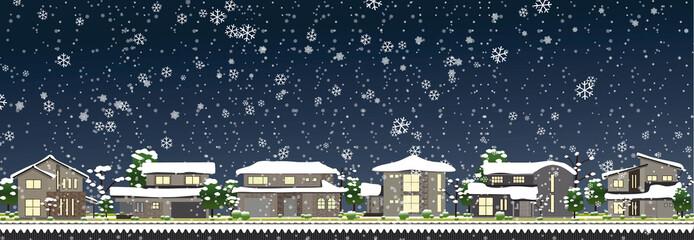 雪の町並み夜01