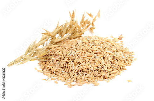 Fotobehang Granen Whole Oats with Ears Isolated on White Background