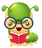 illustration of Cartoon book worm vector