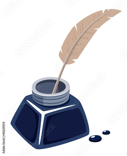 illustration of inks with feather.Vector
