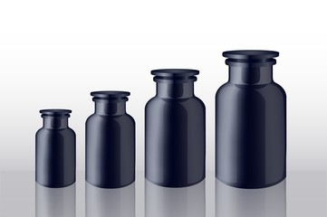 set of bottles blacks