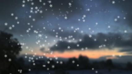 Schneefall mit Landschaft am Morgen