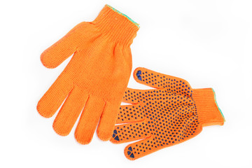 Orange work gloves isolated on white background.