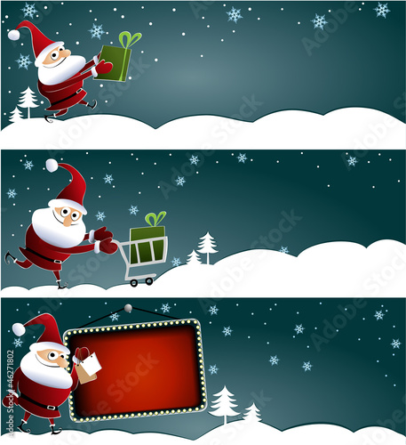 Three Christmas sale banners with Santa Claus