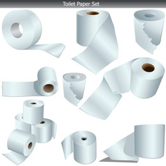 Toilet Paper Icon Set on white