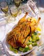 Roast goose on plate