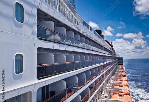 Balcony cabins on a cruise ship at sea - 46274034