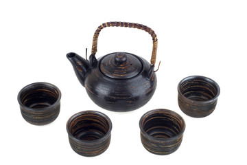 tea-set on a white background