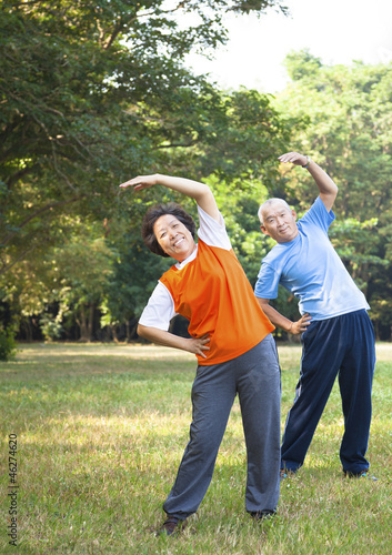 asian senior couple in the park