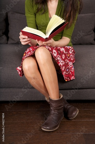 reading sitting on sofa