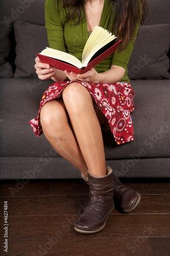 reading sitting on sofa