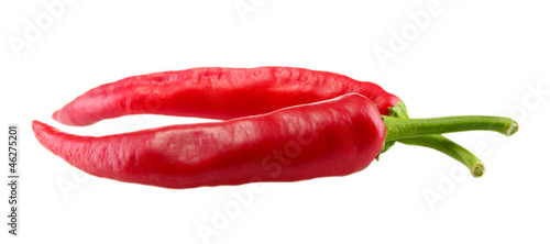 Red hot chili peppers, isolated on white