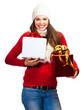 Happy beautiful woman Christmas shopping