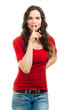 Beautiful woman dressed in red doing a silence sign