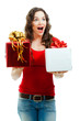 Beautiful surprised  woman holding two Christmas presents