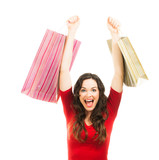 Thrilled beautiful woman Christmas shopping. poster