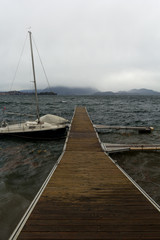 anchored boat at the dock