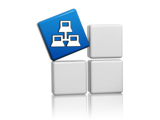 blue cube with computer network icon on boxes