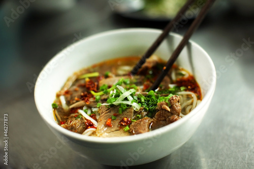 Poster Vietnamese beef soup called pho