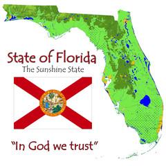 Florida USA state national emblem map symbol motto