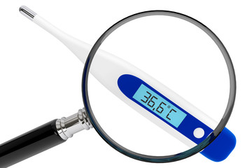 Medical digital thermometer with magnifier