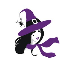 Young witch woman  vector portrait