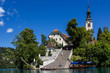 Bled island with its steep staircase, Lake Bled, Slovenia.