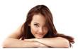 teen girl beautiful cheerful enjoying isolated