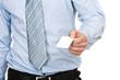 Geschäftsmann hält Visitenkarte