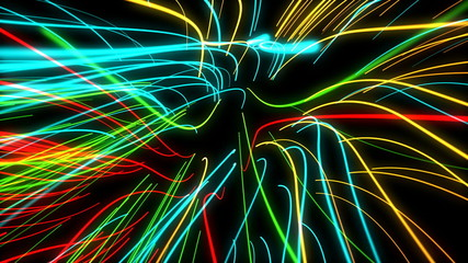 zoom motion neon glowing lights lines