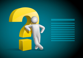 3d vector man leaning check symbol template