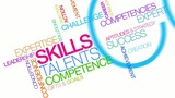 Skills talents competence word tag cloud animation poster