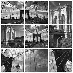Collage Pont de Brooklyn noir et blanc - New York USA
