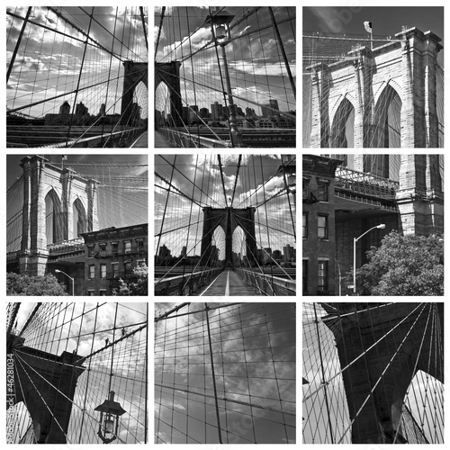 Collage Pont de Brooklyn noir et blanc - New York USA