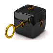 Security concept. Black cube and golden key.