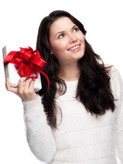 Beautiful Woman is looking forward to her gift - isolated