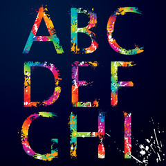 Font - Colorful letters with drops and splashes from A to I