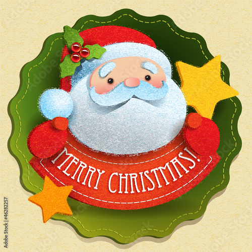 Christmas card with Santa Claus and Merry Christmas lettering