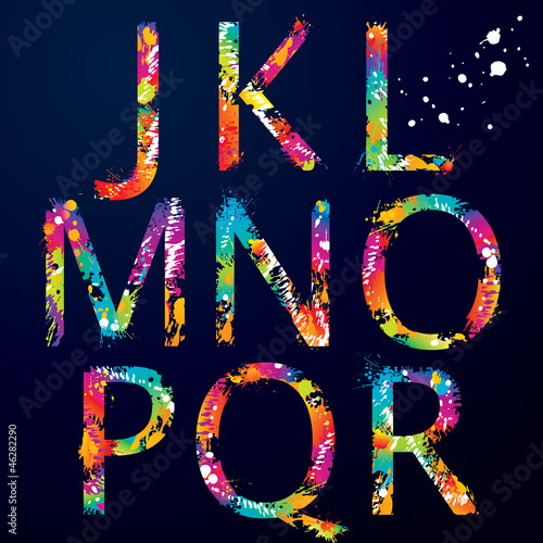 Font - Colorful letters with drops and splashes from J to R