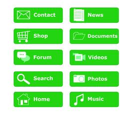Botones para menú de página Web en color verde