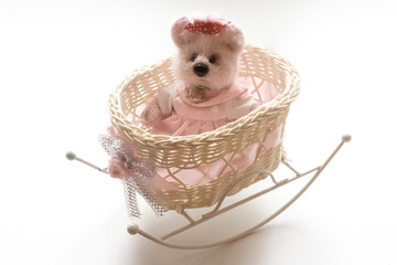 Toy Bear in a Pink Dress and in Small Bed