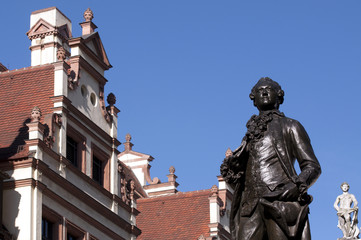 Goethe Denkmal Naschmarkt Leipzig