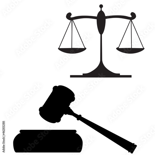 scales of justice and gavel