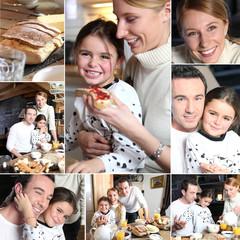 Montage of happy family having breakfast