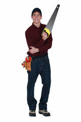 Handyman with a handsaw