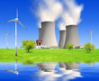 spring landscape with nuclear power plant and wind turbines