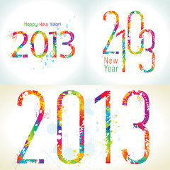 Set of New Year's cards 2013 with colorful drops and sprays
