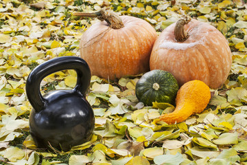 iron kettlebell and pumpkin