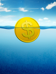 afloat dollar coin